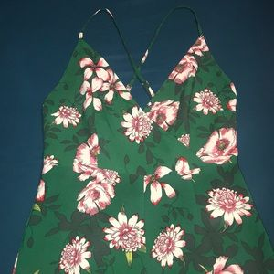 Forever 21 green floral jumpsuit size M